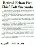 Retired Felton Fire Chief Toft Succumbs