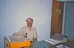 Missionær i DSM/UMN, civilingeniør Jens Christian Olesen på sit kontor, Butwal Tekniske Skole, Nepal, april 1986, The DSM/UMN Missionary, Civil Engineer Jens Christian Olesen at his office, Butwal Technical In