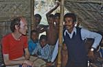 Bangladesh. DSM Missionary Jens Fischer-Nielsen (left) visiting a village school. (Name of the, Bangladesh. DSM missionær Jens Fischer-Nielsen (tv) på besøg i en landsbyskole. (Navn på lærer?)