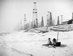 Shore and oil field in Huntington Beach