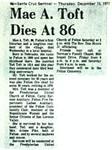 Mae A. Toft Dies at 86