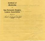 San Fernando Heights Lemon Association membership material, 1937