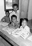 Danish Santal Mission, Bangladesh. Pupils and teacher at Saraswatipur Boarding School, 1983, Dansk Santalmission, Bangladesh. Elever og lærer på Saraswatipur Kostskole, 1983