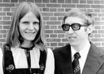 Vibeke and Jørgen Moesgaard in front of Kølkær church, 22 May 1977. The couple are going to be, Vibeke og Jørgen Moesgaard foran Kølkær kirke, 22. maj 1977. Parret skal udsendes til Madagaskar