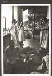 Hausa traders on the veranda, Haussa-Händler auf der Veranda