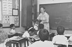 Mrs. Thyra Schmidt, teacher at the Al Raja School in Bahrain1987, Thyra Schmidt er lærer ved Al Raja Skolen i Bahrain