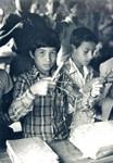 Boys learning handicrafts at the Namjung village school, Nepal, working place for the Danish UM, Drenge lærer håndarbejde i Namjung landsbyskole, Nepal, hvor den danske UMN missionær og lærer Tove Madsen arbejder, april 1984. (Anvendt i: Børneposten nr 8/1987)