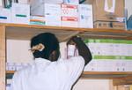 ELCT, Karagwe Diocese, Tanzania. Nyakahanga Hospital, November 2001. Erica working at the hospi, ELCT, Karagwe Stift, Tanzania. Nyakahanga Hospital, november 2001. Erica i arbejde på hospitalets apotek
