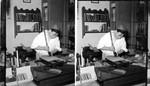 Bookbinder in Printing Office. Laying Gold Leaf. Williamsburg, Virginia. Bookbinder Clem Sanford