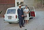 Missionary Grethe Jensen is finally departing Aden after 25 years missinary service. She is acc, Missionær Grethe Jensen rejser fra Aden for sidste gang efter 25 års arbejde. Hun ledsages til Danmark af Ibrahim Mubarak, der skal på officielt besøg i Danmark i juli 1965