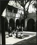 Students in Eucalyptus Court, Scripps College