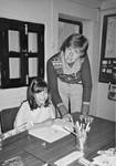 Lærer Merete Maksten (Høyland) på Den Norske Skole i Kathmandu, Nepal 1984, Teacher Merete Maksten (Høyland) at the Norwegian School in Kathmandu, Nepal 1984