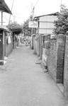 Taiwan Lutheran Church/TLC. Man Yi San Tun, Taichung. One of the narrow alleys, where Missionar, Taiwan Lutherske Kirke/TLC. Man Yi San Tun, Taichung. En af smøgerne, hvor missionær Birgit Norholdt besøgte familier, flere fra kirken boede her. Landsbyen Man Yi San Tun har boliger for tidligere militærpersoner, hvoraf mange er pensionister eller har fået andre jobs. Herrens Nådes Kirke ligger 100 m til venstre for denne smøge