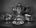 Solid gold tea set on display