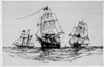 Three clipper-ships at sea, 1880