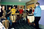 DMS's landsdelsstævne i Nørre Nissum. Så skal de store trommer røres. Forstander på Nørre Nissum efterskole Martin Ravn Jensen blev ekspert i trommer som missionær på Ruhija musikskole i Tanzania, DMS's regional tournament in Nørre Nissum. So, the big drums are touched. Principal at Norre Ni