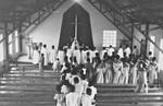 Inauguration Service of Minziro Church, the North Western Diocese in Kagera Region, Tanzania, 1, Indvielsesgudstjeneste i Minziro Kirke, Nordveststiftet i Kageraregionen, Tanzania, 1988. Kirken er tegnet af DMS missionær, arkitekt Karl Emil Lundager
