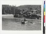 John Lawson and grandchildren rowing across Klamath River