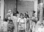 Bangladesh Lutheran Church/BLC, 1994. Missionary Ulla Bro Larsen visiting a village. (Nurse Ull, Bangladesh Lutherske Kirke/BLC, 1994. Missionær Ulla Bro Larsen på landsbybesøg. (Sygeplejerske Ulla Bro Larsen og cand. theol. Morten Larsen var udsendt af Dansk Santalmission til Bangladesh, 1978-84 og 1994-95)