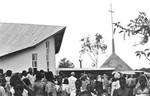 Inauguration of Kyaitoke Church, Bukoba, the North Western Diocese, Tanzania, 1981. The church, Indvielsen af Kyaitoke Kirke, Bukoba, Nordveststiftet, Tanzania, 1981. Kirken er tegnet af DMS missionær, arkitekt Karl Emil Lundager