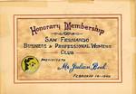 San Fernando Business and Professional Womens Club membership award, 1948
