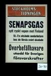 Senapsgas nytt ryskt vapen not Finland. St. T's utsande medarbetar nos de forsta svart skadade. Overbefalhavare utsedd for Sveriges forsvarskrafter
