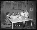 Third Street School girls preparing filing cases for Los Angeles Childrens Hospital, 1948
