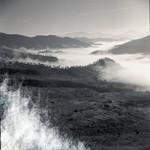Valley mist in a mountain landscape