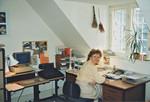 Personal Secretary of Danish Santal Mission at her office, Copenhagen 1990, Personalesekretær i Dansk Santalmission, Berit Daugaard Hansen på sit kontor, København 1990