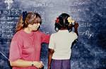 ALCs Skoleprojekt, Tamil Nadu, Sydindien, 1992. Lærer og volontør Conny Stick på arbejde, The ALC School Project, Tamil Nadu, South India, 1992. Teacher and Volonteer Conny Stick in the