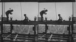 Construction Men at Work in Great Steel Frame of Metropolitan Tower, Looking East Toward River, New York