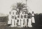 Female missionary and female congregation, Nigeria, 1935