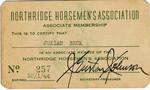 Northridge Horsemen's Association Membership card, circa 1943